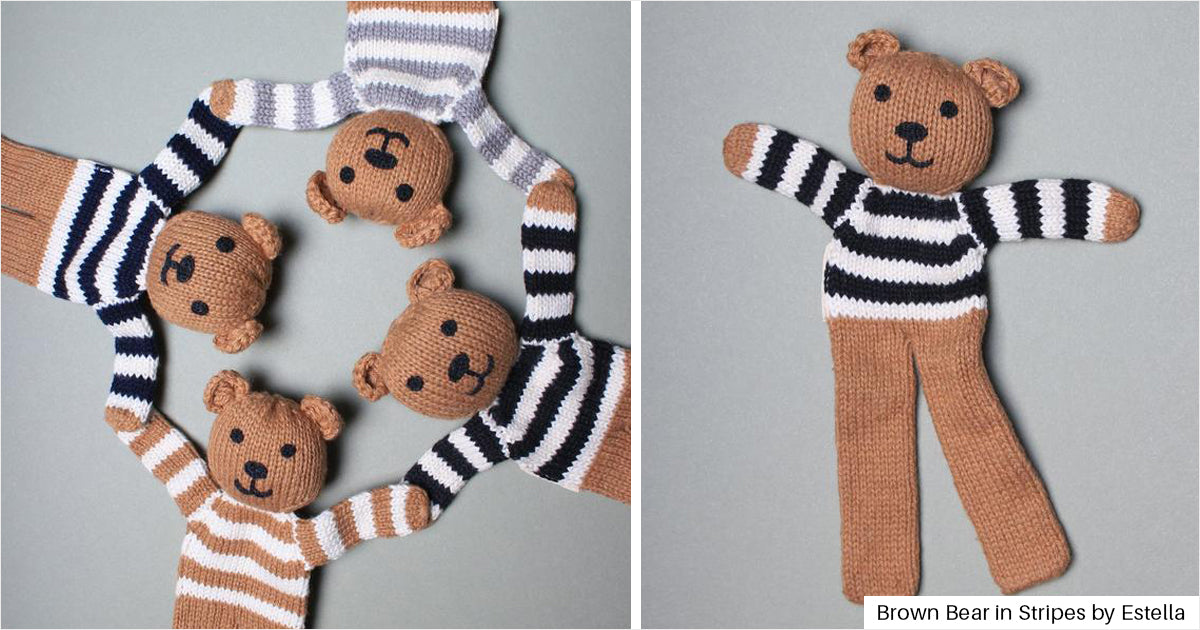 Brown Bear Baby Soother in Stripes by Estella