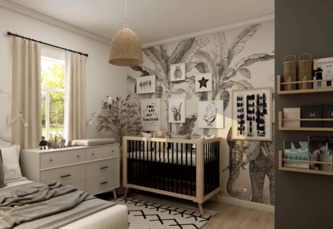How to decorate a nursery with a safari theme and modern furniture. Picture shows a crib in a room with safari style decorations