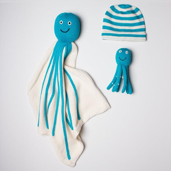Organic Baby Gift with Octopus Blanket, Hat & Rattle
