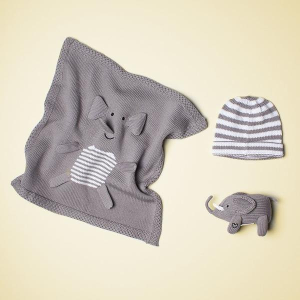 Luxury Baby Gift Set with Elephant toy, blanket & hat