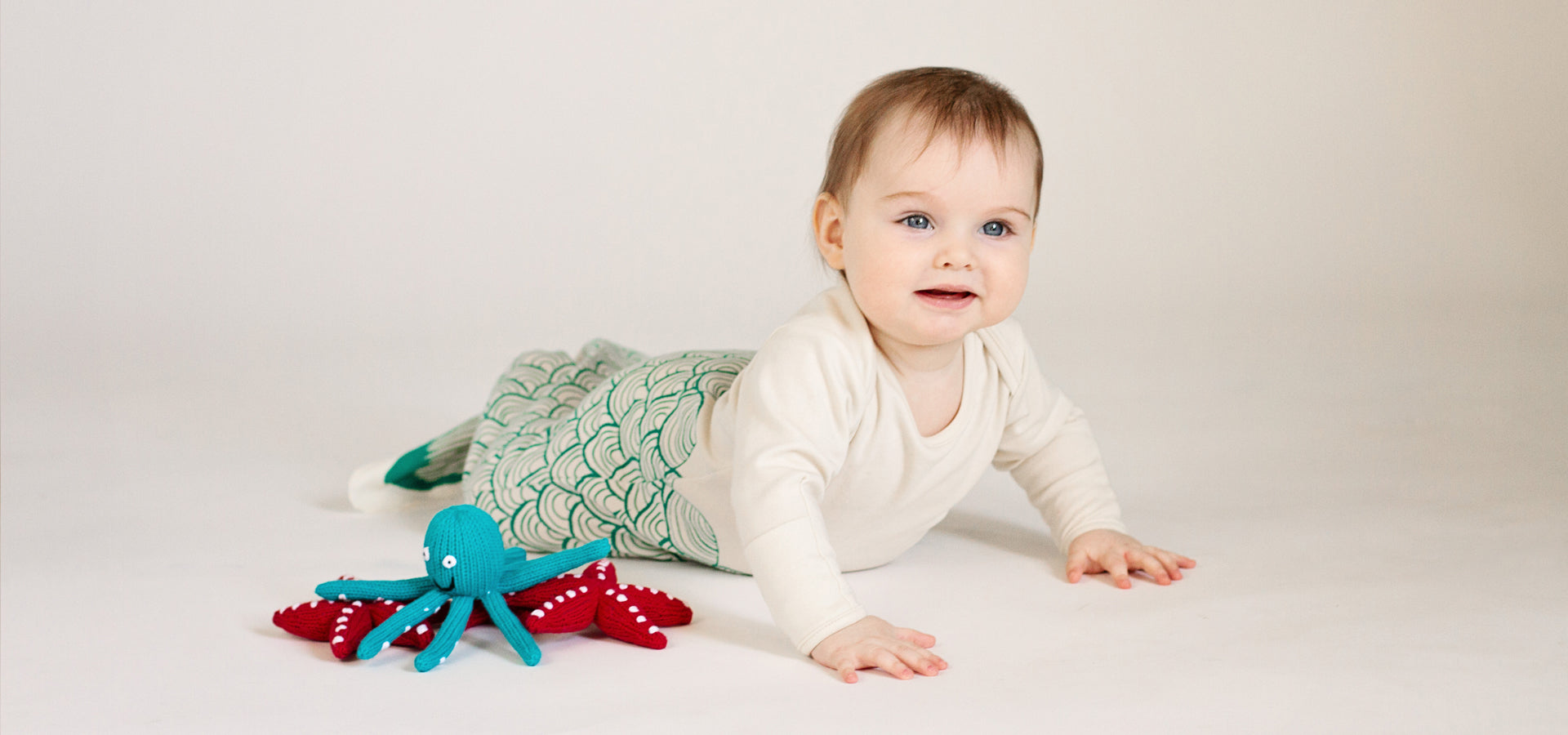 Organic Baby Gown, Octopus, and Starfish Rattle Baby Toys