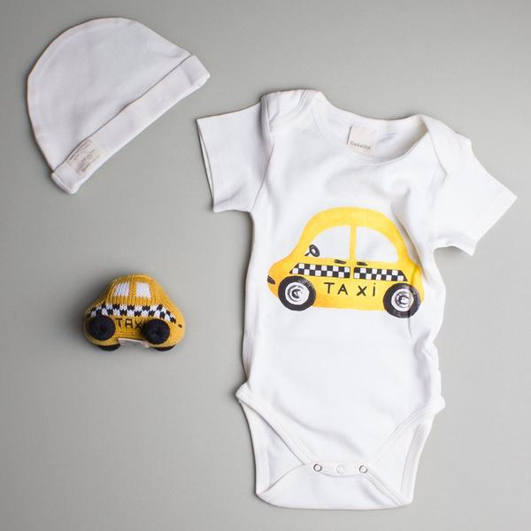 Organic Cotton Baby Gift Set - NYC Taxi Baby Onesie, NYC Baby Rattle & Hat