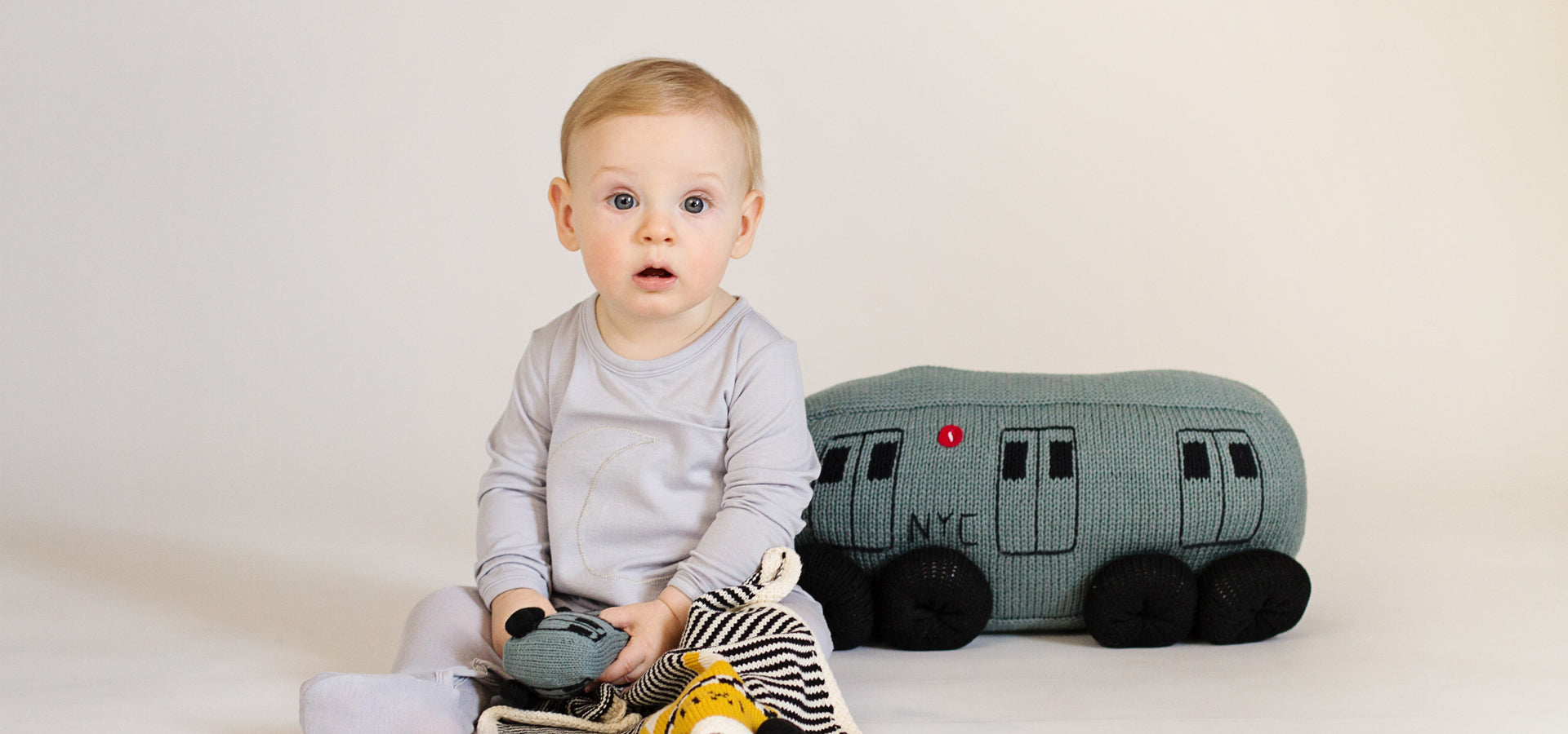 Organic Taxi Lovey, NYC Train Baby Pillow and Rattle