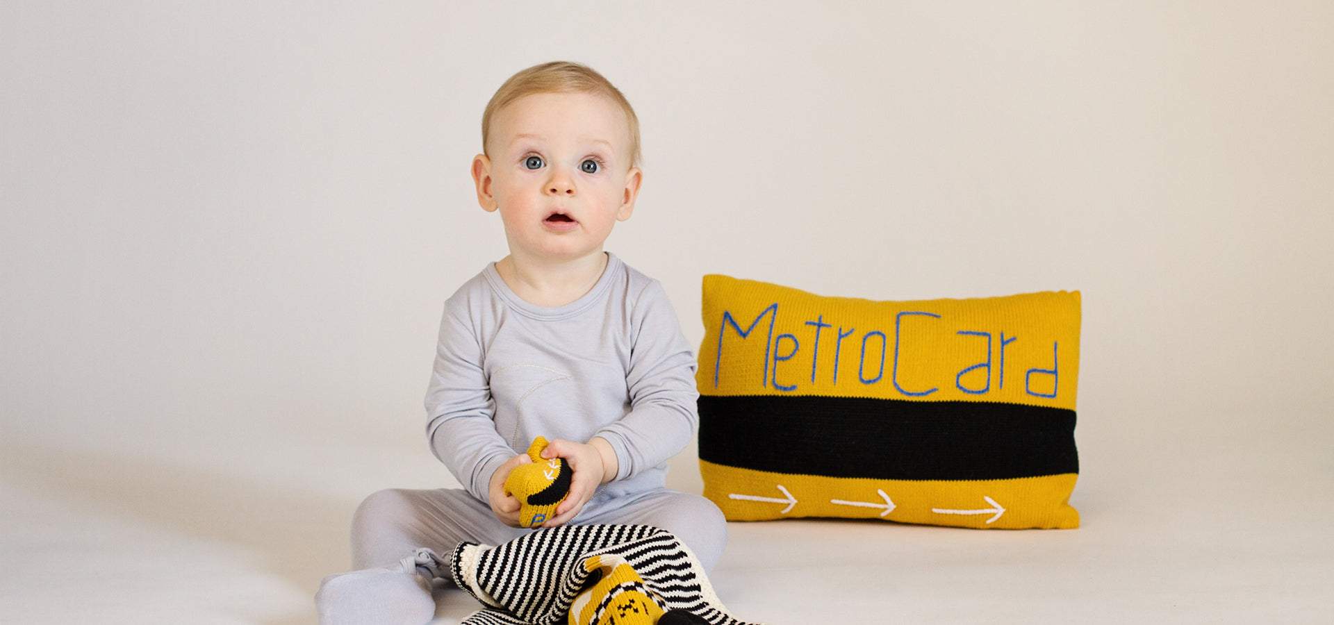 Organic Taxi Lovey, Metrocard Baby Pillow and Rattle