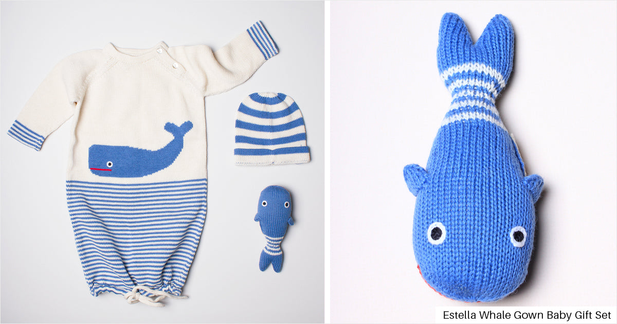 Estella Whale Baby Gown Gift Set