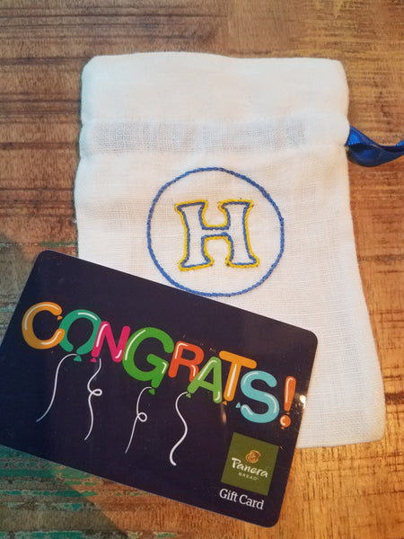 Bags - Linen Gift Card Holder - Blue/Gold H