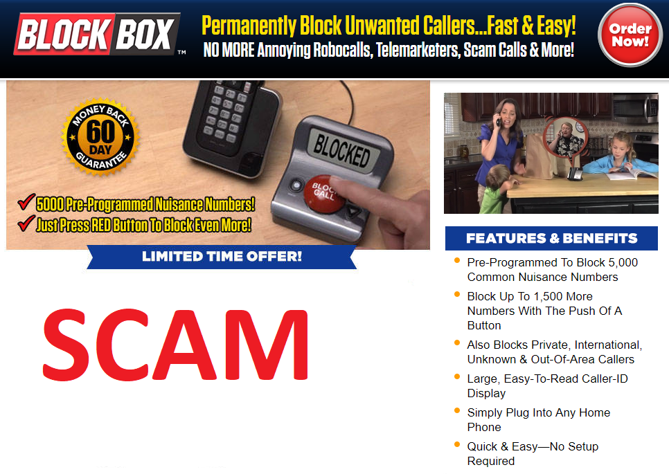 BlockBox Call Blocker Website Scam Warning