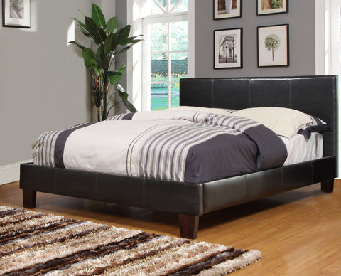 Espresso Faux Leather Platform Bed (Volt) - Mike the Mattress Guy