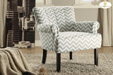 Langdale Collection Taupe, French Print or Grey Chevron Linen Accent Chair - Mike the Mattress Guy