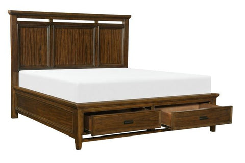 1649-1 Queen or King Platform Bed with Footboard Storage