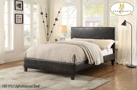 1881 Dark Brown Platform Bed With Dramatic Stitching - Mike the Mattress Guy
