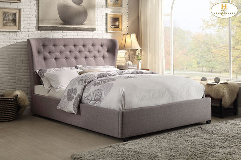 1883 Tufted Grey Wing Bed - Mike the Mattress Guy