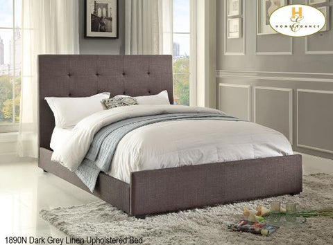 1890 Dark Grey Linen Upholstered Bed - Mike the Mattress Guy