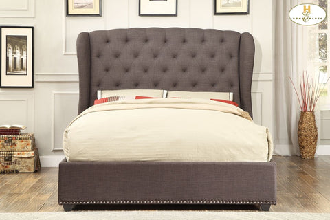 1894 Collection Grey Tufted Wing Bed - Mike the Mattress Guy
