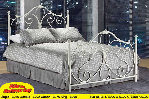 IF-158 White Metal Headboard - Mike the Mattress Guy