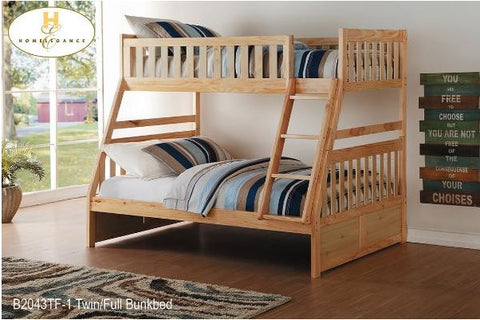 B2043TF Single Over Double Bunk Bed