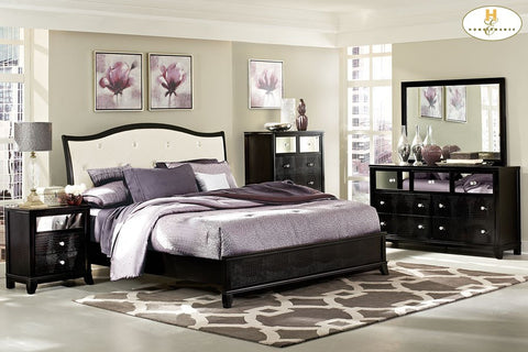 Black Faux Alligator Sleigh Bed Jacqueline Bed - Mike the Mattress Guy