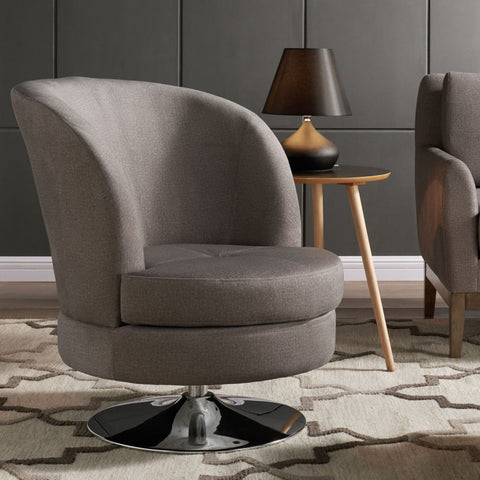 Nolan Grey Swivelling Bucket Accent Chair - Mike the Mattress Guy