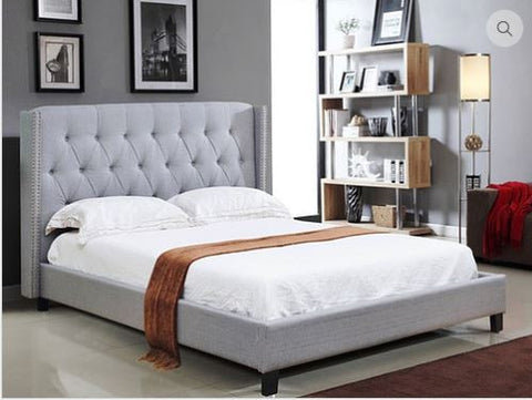 IF-5801 Light Grey Linen Platform Bed - Mike the Mattress Guy