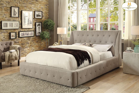 5857 Vienna Collection Tufted Light Grey Wing Platform Bed - Mike the Mattress Guy