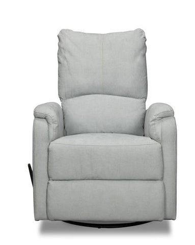 9055 Swivel Glider Recliner with Handle Blue Fabric