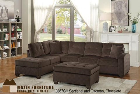9367CH Chocolate Brown Sectional (matching ottoman available) - Mike the Mattress Guy