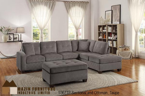9367TP Taupe Sectional (Matching Ottoman Available) - Mike the Mattress Guy
