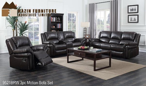 9521-BRW Rocker Recliner Sofa, Loveseat and Chair - Mike the Mattress Guy