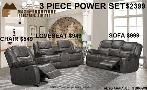 9849 GRY POWER ROCKER RECLINER, RECLINING SOFA & LOVESEAT WITH CONSOLE