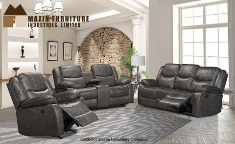 9849GRY Rocker Recliner, Reclining Sofa & Loveseat with Console - Mike the Mattress Guy