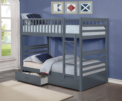 B-110-G Single Over Single Bunk Bed With Storage Drawers - Mike the Mattress Guy