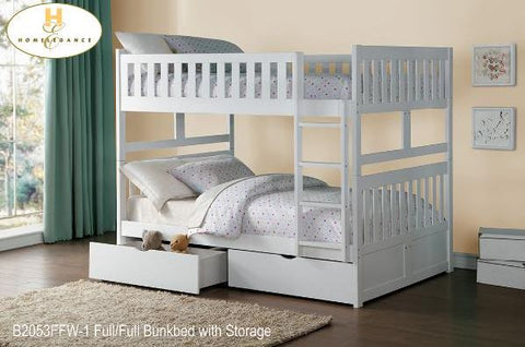 B2053FFW Double Over Double White Bunk Beds - Mike the Mattress Guy