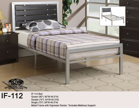 IF-112 Panel Headboard Chrome or Black Metal Platform Bed - Mike the Mattress Guy