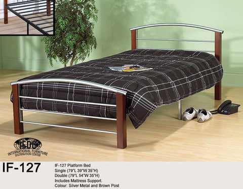 IF-127 Wooden Post Silver Metal Platform Bed - Mike the Mattress Guy