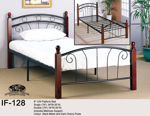 IF-128 Wooden Post Black Metal Platform Bed - Mike the Mattress Guy