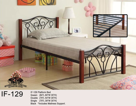 IF-129 Wooden Post Black Metal Platform Bed - Mike the Mattress Guy
