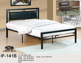 IF-141 Faux Leather and Black or White Metal Platform Bed - Mike the Mattress Guy