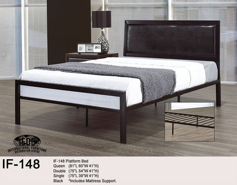 IF-148 Faux Leather and Black Metal Platform Bed - Mike the Mattress Guy