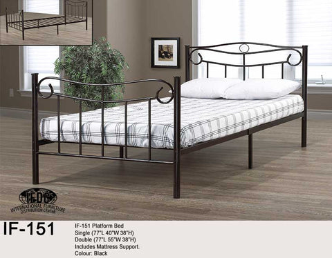 IF-151 Black Metal Platform Bed - Mike the Mattress Guy