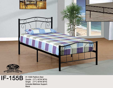 IF-155 Black or White Metal Platform Bed - Mike the Mattress Guy
