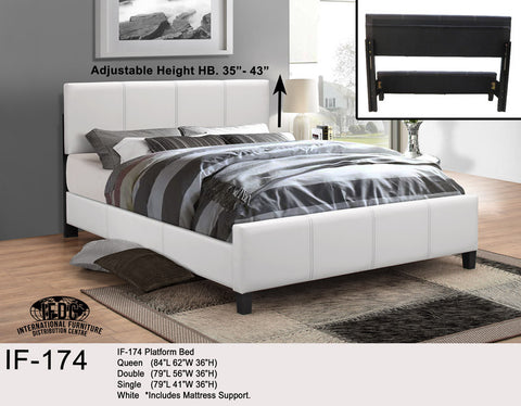 IF-174 White Faux Leather Platform Bed - Mike the Mattress Guy