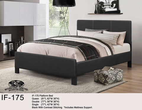 IF-175 Black Faux Leather Platform Bed - Mike the Mattress Guy
