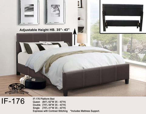 IF-176 Espresso Faux Leather Platform Bed - Mike the Mattress Guy