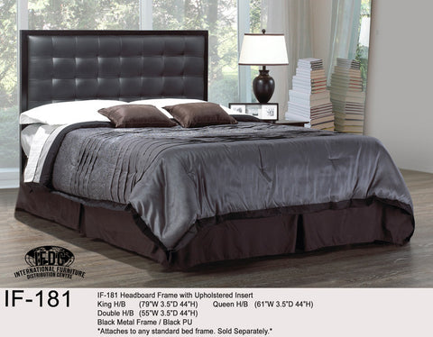 IF-181 Black Faux Leather Headboard with Metal Borders - Mike the Mattress Guy