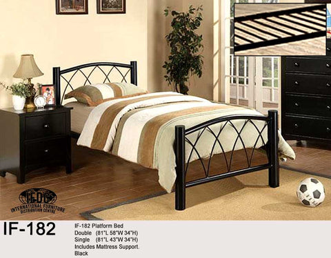 IF-182 Black Metal Platform Bed - Mike the Mattress Guy