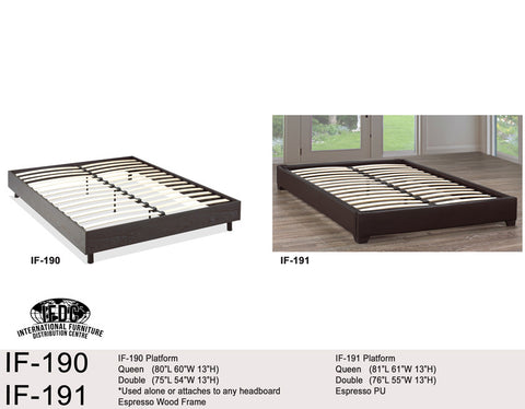 IF-191 Espresso Faux Leather or Wood Platform Frame - Mike the Mattress Guy