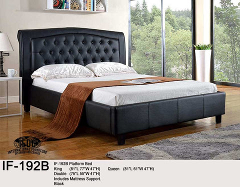 IF-192 Tufted Faux Leather Black or White Platform Bed - Mike the Mattress Guy