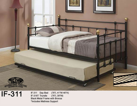 IF-311 Black and Bronze Metal Day Bed - Mike the Mattress Guy