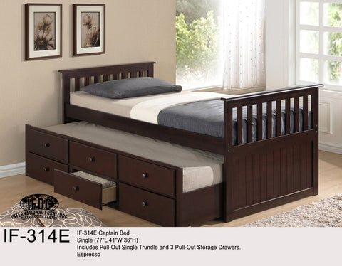 IF-314 Three Colours Solid Wood Mates Bed - Mike the Mattress Guy