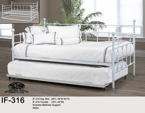 IF-316 White Metal Day Bed - Mike the Mattress Guy